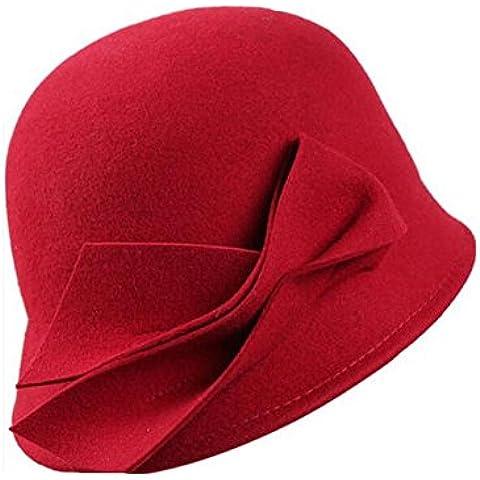 WE&ZHE Lana sombrero de fieltro de ala ancha Mujer estilo británico marea de la moda retro Mantenga caliente otoño del casquillo del lavabo y del invierno , deep