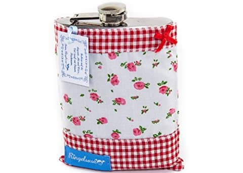 Cute Pocket Flask/Pocket Bottle in Red Shell with flowers and checked pattern by German Label Ringelsuse