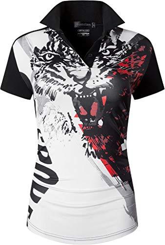 jeansian Damen Sport Poloshirt Polo Shirt T-Shirt T-Shirt Kurzarm Dry Fit Golf Tennis Badminton SWT259 Black S -