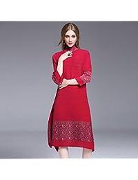 JIALELE Diario de la mujer saliendo Vintage la rodilla-longitud vestidos sueltos, Stand Floral
