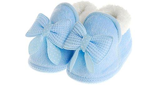 ElecMotive Weich Warm Babyschuhe Lauflernschuhe Krabbelschuhe Kleinkindschuhe in verschiedenen Farben in Winter und Frühling (3-6 Monat, Pink) Blau