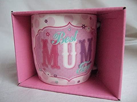 Best Mum Ever Pink Vintage Style Pattern Sentimental Mug by Vintage Mugs