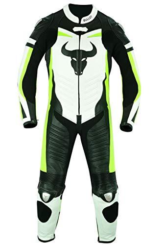 BULLDT - Tuta da motociclista, in pelle, fluorescente