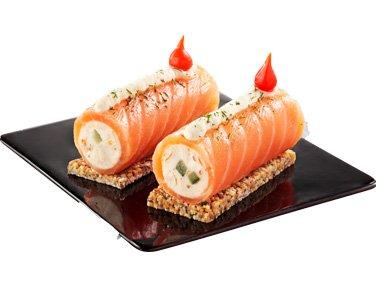 TOUPARGEL - Duo de saumon et mascarpone en Cannelloni sur biscuit croquant aux céréales - 2 x 75 g - Surgelé