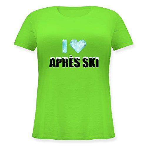 Après Ski - I Love Apres Ski - Lockeres Damen-Shirt in Großen Größen mit Rundhalsausschnitt Hellgrün