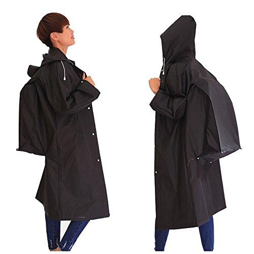 Sunmoch Nicht-Einweg Regenponcho Wasserdicht Regenjacken Motorad Regenmantel Mode Regenjacke EVA Raincoat Regencape Fahrrad(Schwarz)