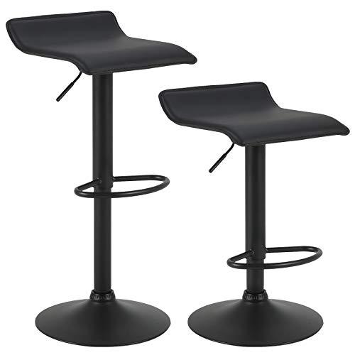 Woltu bh159sz-2 sgabelli da bar girevole sedia per cucina rivestimento in ecopelle lift gas metallo nero 2 pezzi