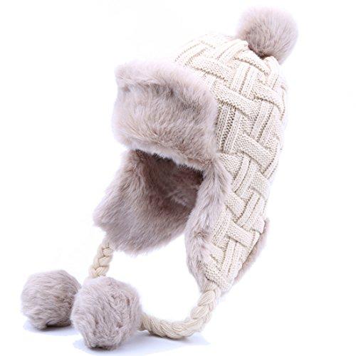 Kuyou Damen Winter Hut Ohrenschützer Trapper Warm Fellmütze, Beige, Einheitsgröße