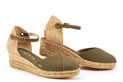 Viscata Espadrilles-Sandalen mit Knöchelriemen, geschlossene Zehenpartie, klassisches Espadrilles-Design mit 5-cm-Absatz, gefertigt in Spanien, grün - grün (Cactus Green) - Größe: 42 EU