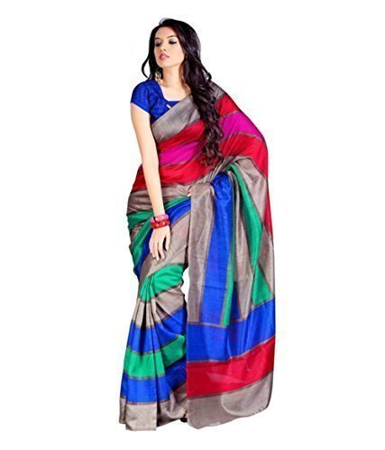 Samskruti Sarees Synthetic Saree(SSSS-1_Multi-Coloured)