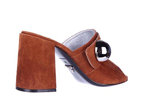 Prada sandales femme à talon en daim palissandro marron Marron