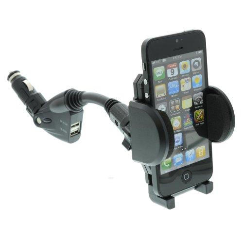Universal Auto / Lkw Ladegerät + Halterung für Ihr Handy / Smartphone mit 2x USB eingang 1A & 2A - Fast für alle Smarthones Variabel einstellbar!