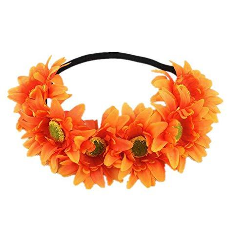JOOFFF Sun Flower Head Rope Fashion Damen Stretch Haarband Haarschmuck Kopfschmuck, Orange -