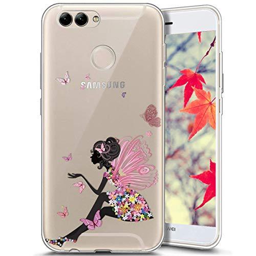 Surakey Compatible avec Coque Huawei P Smart,Transparente Silicone Housse Étui Protection TPU Bumper Téléphone Couverture Crystal Clair Coque pour Huawei P Smart (Papillon fille)
