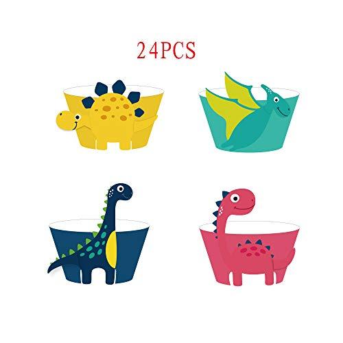 Howaf Dinosaurier Cupcake Wrapper, Dinosaurier Kuchen Dekoration für Kinder Party Dinosaurier Geburtstag Deko Jungen Mädchen, 24 Stücke