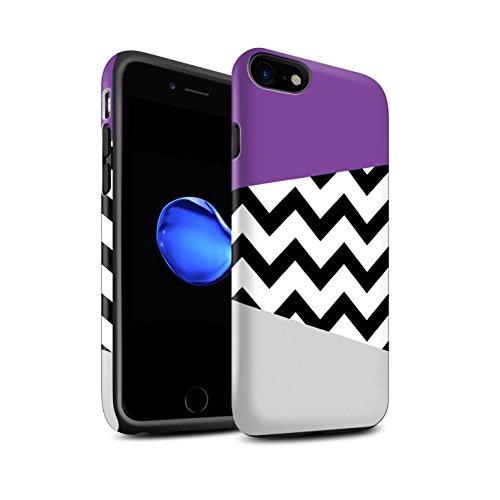 STUFF4 Matte Harten Stoßfest Hülle / Case für Apple iPhone 8 Plus / Tiger Druck/Träne Muster / Lila Mode Kollektion Geometrischer Zickzack