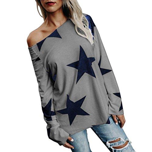 ESAILQ Damen Modisch Damen Shirt Kurzarm Revers Schlank Hemd Arbeit V-Ausschnitt mit Knöpfe(L,Grau)