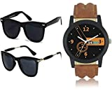 Mens Sunglasses Low Price Combo Stylish Set of 2 Fashion Wayfarer Goggle and Sunglasses for Men Branded Women Boys and Girls Unisex (Golden Rubber Stick Blue Mercury Square Wayfarer|56|Golden Rubber Stick Black Mercury Square Wayfarer)