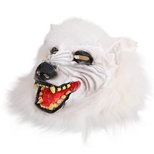 (KingProst  Halloween Maske Wolf Kopf Fasching Karneval Party KostüM FüR Erwachsene Unisex EinheitsgrößE (Weiß))