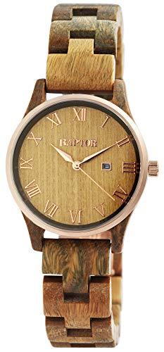 Raptor Damen-Uhr Holz Faltschließe Datum Analog Quarz RA10172