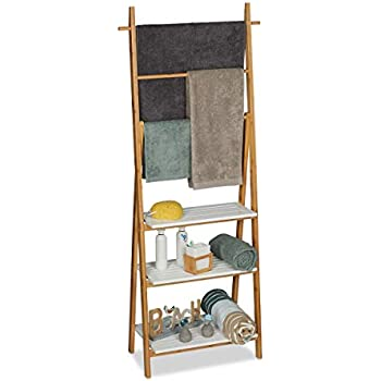 31 x 53 x 152 cm 3 Towel Rails and 4 Side Hooks Relaxdays Bamboo Rack Folding Small Clothes Stand with 3 Shelves Wood Brown