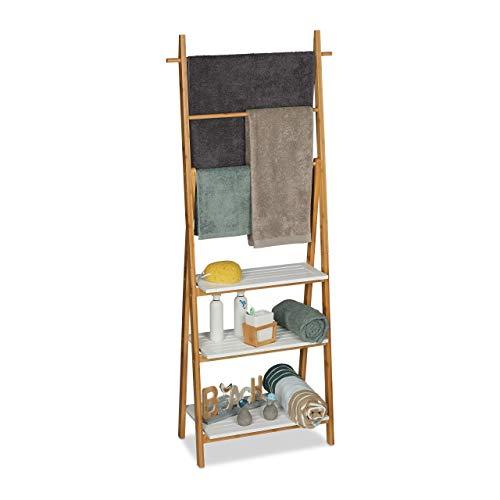 Relaxdays Handtuchhalter Regal, Badständer mit Regalablagen & Handtuchstangen, HBT 150x50x30cm, Bambus, MDF, Natur/weiß, Größe