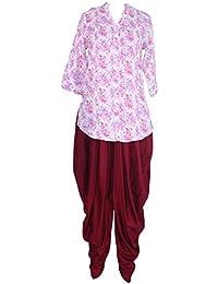 Patrorna Women's Pink Print Pintex Tunic Tops And Black Dhoti Pant / Salwar Set (Size S-7XL)