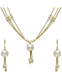 Jewels Galaxy Gold Plated Peal Necklace Set For Women