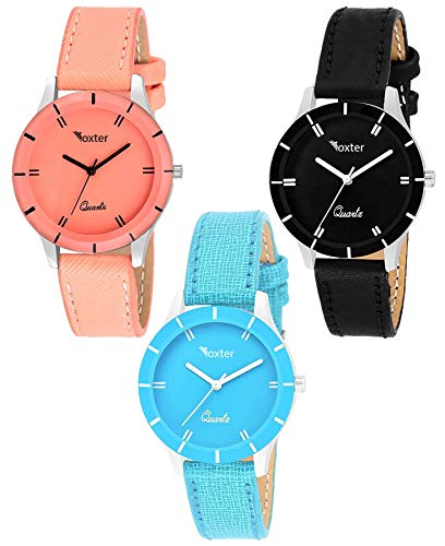 Foxter Three Analogue Multi Color Dial Watches Combo For Women And Girls(605-Orng-Skblue-Blk)