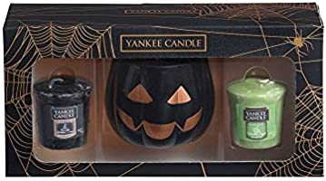 Yankee Candle Official Halloween Pumpkin Head Votive Holder Box Set Includes 2 Rare Samplers