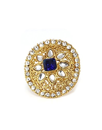 Bindhani Traditional & Ethnic Gold Plated Kundan Finger Ring For Women (Adjustable,Blue)  available at amazon for Rs.177