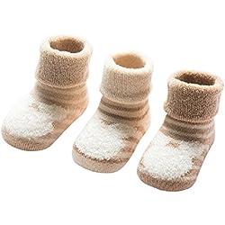 DEBAIJIA 3 Pares de Calcetines Bebé Algodón organico Grueso Calcetines Térmicos Largo Recién Nacidos 0-6 Meses Invierno Para Niños Niñas Animal Rayas