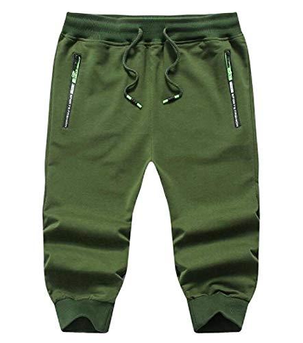 Yisism Men Cropped Pants Cotton Jogger Pants Drawstring Casual Shorts Sweatpants 1 US L -