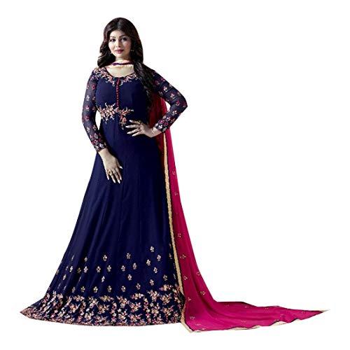 ETHNIC EMPORIUM Damen Blau Bollywood Georgette Braut Anarkali Shalwar Kameez Muslim Hochzeit Eid Festliche Rakhi Sammlung Klage-Kleid 2858 43483 Wie gezeigt -