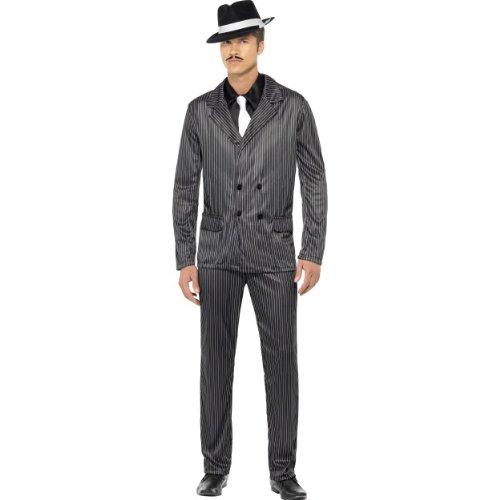 Karneval Herren Kostüm Gangster Capone Nadelstreifen Anzug Größe M (Herren Gangster Anzug)