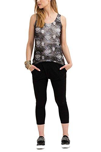 trueprodigy casuale donna canotta magliette motivo stampa, abbigliamento urban moda girocollo (manica corta & slim fit classic), top blusa moda vestiti colore: nero 1072505-2999 Black