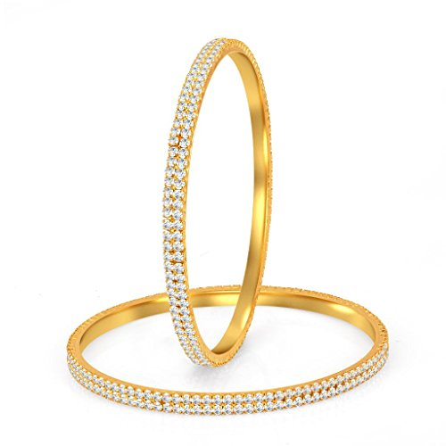 Sukkhi Glimmery Gold Plated Set OF 2 Australian Diamond Two Line Bangle for Women