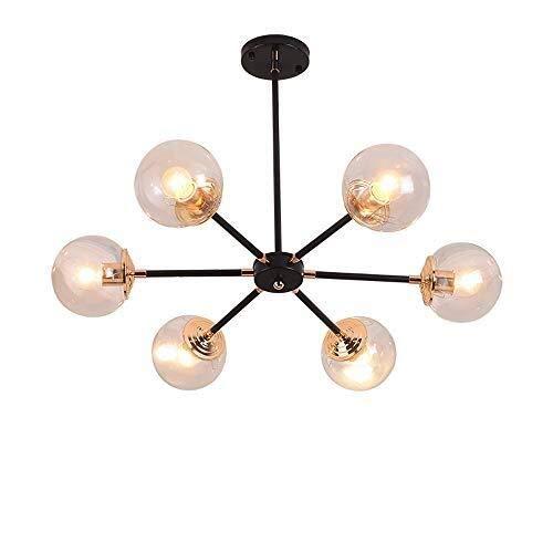 Bronze-sechs Leichte Runde Anhänger (XFZ Kreative Magic Bean Runde Glasschirm 6-Lights Persönlichkeit Villa Molecular Deckenpendelleuchte Wohnzimmer Restaurant Schlafzimmer Hängeleuchten)