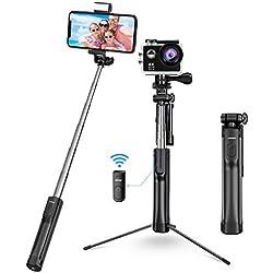 Mpow 3 en 1 Perche Selfie Bluetooth Trépied avec Télécommande Rechargeable et Lumière d'appoint Selfie Stick Monopode pour iPhoneX/8/7Plus, Galaxy Series, OnePlus, Huawei, Smartphone Android etc.