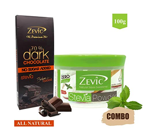 Zevic Stevia Sugarfree Powder 100gm + 70% Dark Belgian Chocolate with Stevia 40 gm Combo