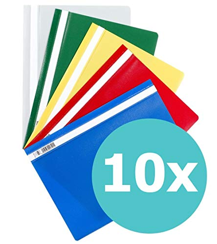 ELBA 100742149 Schnellhefter A4 10er Pack aus Kunststoff für ca. 160 DIN A4-Blätter farbig sortiert (Hefter)