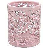 niceeshop(TM) Ciselé Pot à Crayons en Métal avec Style de Roses (Rose Pâle)