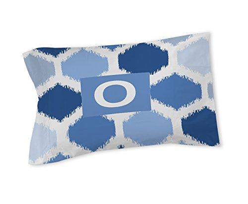 Manuelle holzverarbeiter & Weavers Kissen Sham, Standard, Monogramm Buchstabe O, Blau Batik (König Tröster Set Blau)