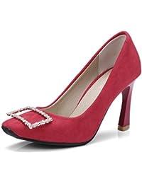 Europa, die Vereinigten Staaten im Frühjahr und Herbst Schuhe mit hohen Absätzen satin Square big Code Frauen Schuhe zu binden, rot, 35