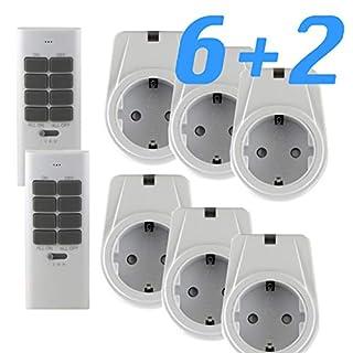 solidBASIC - Funk Schalter Steckdosen Set : 6 x Funksteckdosen + 2 x Fernbedienung   4-Kanal Plug & Play Funkschalt-Set - WEIß