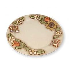 Idea Regalo - THUN® - Piatto Decorativo Centrotavola Medio - Avorio con Fiori, Girasole e Farfalla - Ceramica - Linea Country