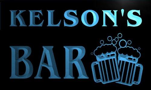 w014553-b KELSON'S Nom Accueil Bar Pub Beer Mugs Cheers Neon Sign Biere Enseigne Lumineuse