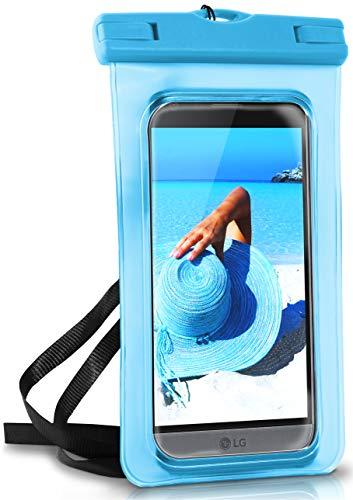 ONEFLOW® wasserdichte Handy-Hülle für alle LG Modelle   Touch- und Kamera-Fenster + Armband & Schlaufe zum Umhängen, Blau (Aqua-Blue)