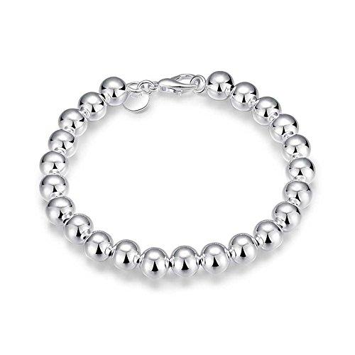 NYKKOLA Fashion Jewelry-Ciondolo in argento Sterling 925, con perla lucida-Bracciale a forma di catena