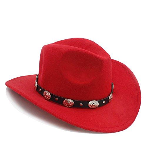 BEITE- Vintage Womem Männer Western Cowboy Hut mit breitem Rand Punk Gürtel Cowgirl Jazz Cap mit Leder Toca Sombrero Cap 23 ( Farbe : Rot , größe : Average ) (Jazz Kostüme Online)